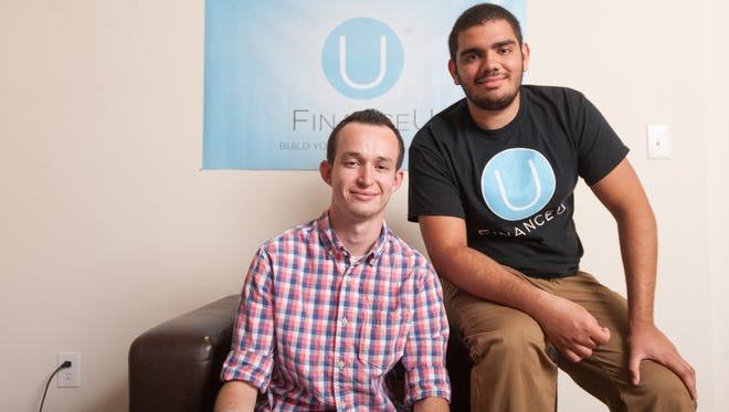 Michael Lewis (left) and T.J. Barnett, founders of FinanceU, which uses crowdfunding to raise money for college.