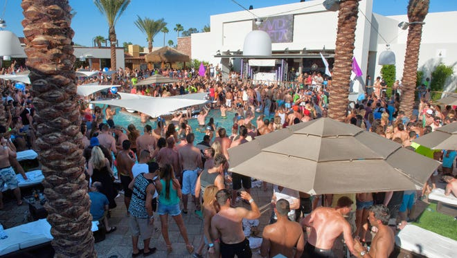 The scene at a typical pool party at Maya Day + Nightclub.