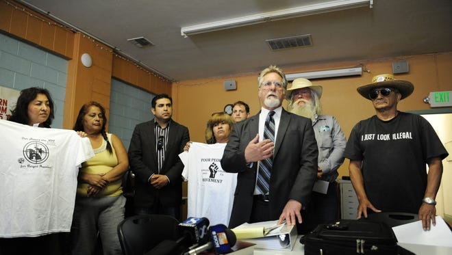 At the Chinatown Learning Center on Wednesday, March 2nd, Attorney Anthony Prince briefs members of the press on the state of a lawsuit filed on behalf of the homeless in Salinas.