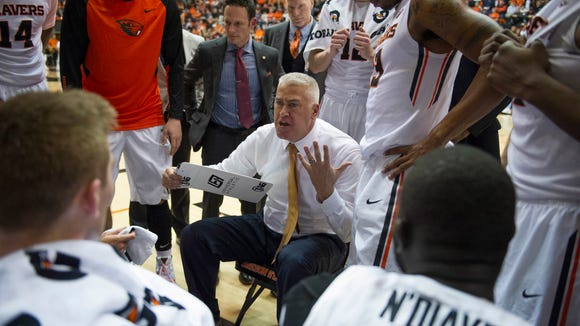 Oregon State men's basketball coach Wayne Tinkle (center) has led the Beavers to their first NCAA tournament appearance since 1990.