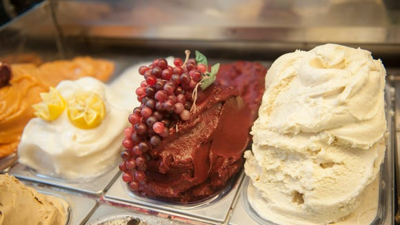 Meyer Lemon and Green Tea gelato surrounds Cabernet Sorbetto at Gelato Dolceria in Haddonfield.
