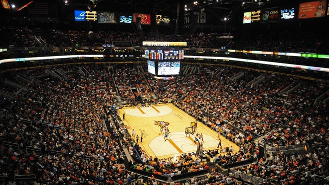 Nov. 11, 2009; Phoenix, AZ, USA; General view of the US Airways Center during the game between the Phoenix Suns against the New Orleans Hornets. Mandatory Credit: Mark J. Rebilas-USA TODAY Sports