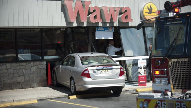 A driver lost control and crashed into the vestibule of Wawa on Church Road in Mount Laurel Friday.