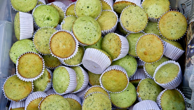 Marijuana muffins are seen during a march for the legalization of cannabis in Santiago, Chile.