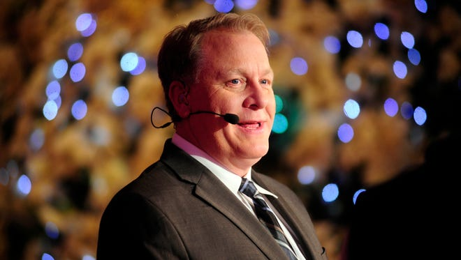 Dec 9, 2013: ESPN baseball analyst Curt Schilling talks during the MLB Winter Meetings at the Walt Disney World Swan and Dolphin Resort.  Schilling is joining ESPN's Sunday Night Baseball broadcast as a color commentator.