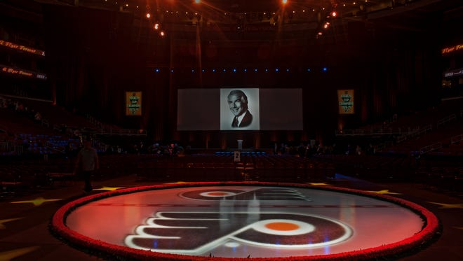 Fans and the hockey community filled Wells Fargo Center in 2016 for a service in memory of Flyers chairman Ed Snider.