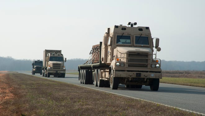A convoy of Army line-hauler trucks will be testing radio technology along Interstate 69 in late June.