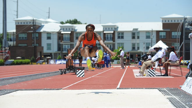 Marshay Ryan competes in the triple jump during the SEC championships recently. Ryan hit 44-0 to place third.