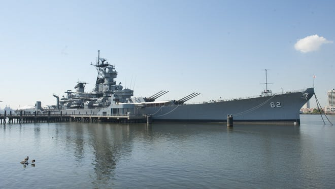 The World War II Battleship New Jersey is now the officials tate ship. It rests at its dock on the Delaware River in Camden as a museum