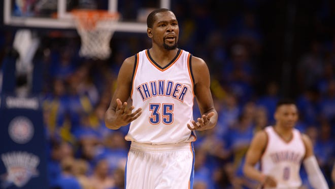 Oklahoma City Thunder forward Kevin Durant (35) and his team saw a lead slip away in the final minutes against the Golden State Warriors in Game 6 of the Western Conference finals.