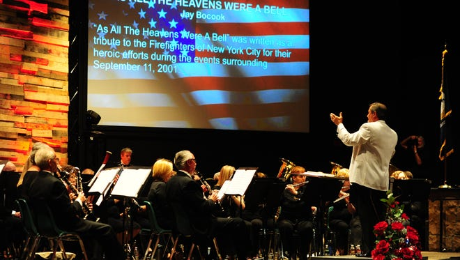 Gerald Guilbeaux, conducts the Lafayette Concert Band.
