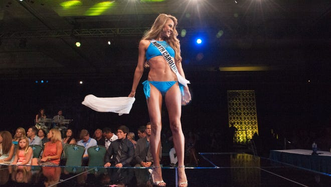 In a scene from 2015's Miss Teen USA pageant, Jane Axhoj represents North Carolina in the swimsuit competition.