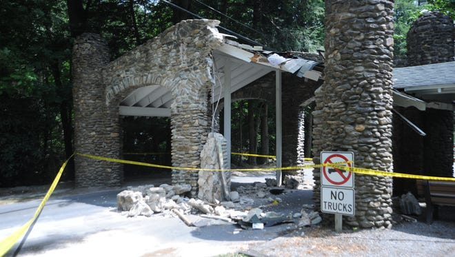 The gate at Montreat was damaged Thursday by a moving truck.