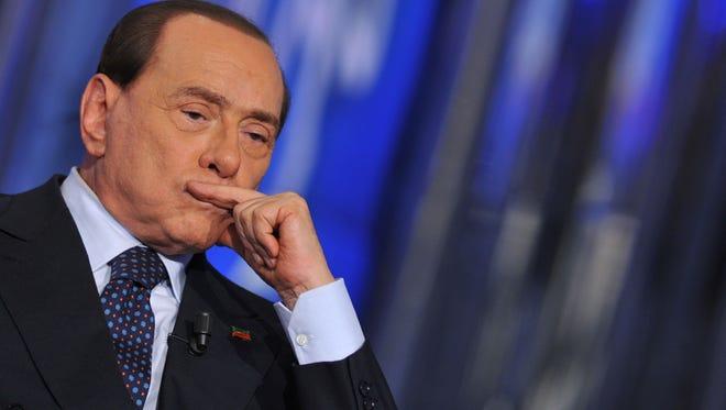 Former Italian prime minister Silvio Berlusconi attends a TV show in Rome on April 24, 2014.