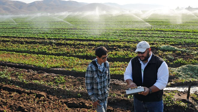 Patrick Zelaya, right, talks with Christian Morales of JV Farms Organic in Soledad about Zelaya's company Heavy Connect, which consolidates and streamlines technology for agricultural concerns. Zelaya will be a panelist at the 2016 Forbes AgTech Summit on July 13 and 14.