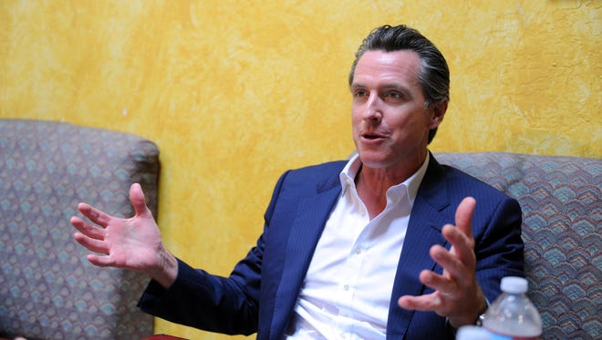 Lieutenant Governor Gavin Newsom shares his thoughts on medical marijuana in a conversation on Wednesday with Jeff Mitchell at the Cherry Bean Coffee House in Oldtown Salinas.