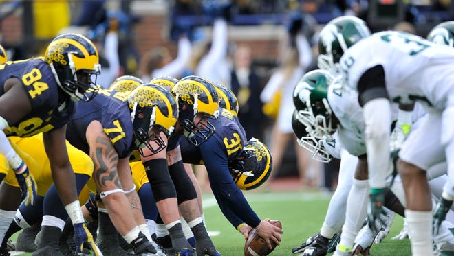 Rivals Michigan and Michigan State will clash Oct. 29 at Spartan Stadium.