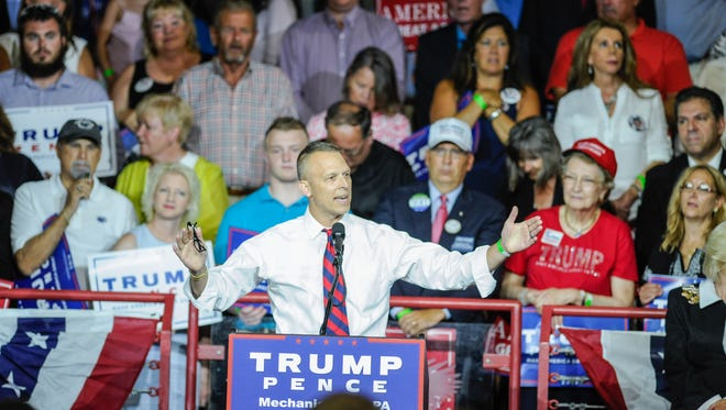 Congressman Scott Perry speaks before the arrival of Republican presidential nominee Donald Trump, Monday, August 1, 2016. John A. Pavoncello photo
