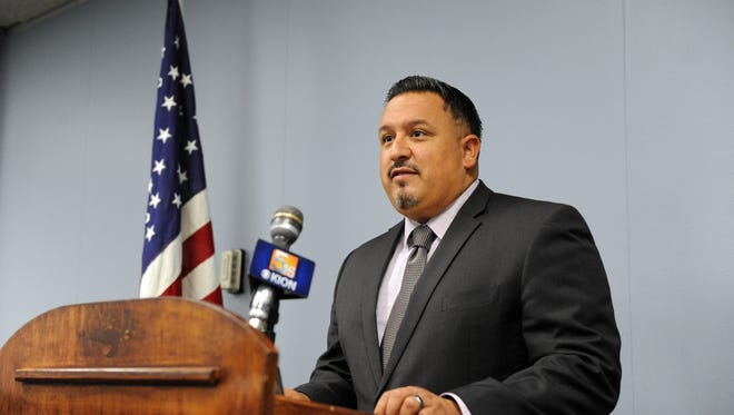 At a press conference on Monday at Salinas City Hall, Community Safety Administrator JosŽé Arreola discussed the Street Outreach program, for which the city has recently hired two new staff members.