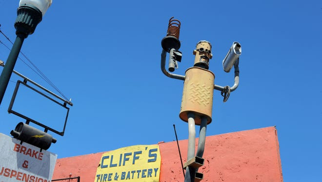 Creative advertising at Cliff's Tire & Battery, 631 E. Market St. in east Salinas.