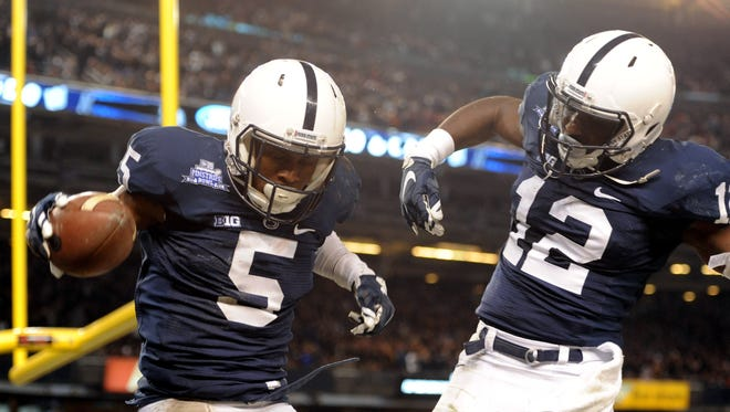 Stars on the field, DaeSean Hamilton, left, and Chris Godwin are making more important marks off it. Their big night at the Pinstripe Bowl two seasons ago was just a beginning.