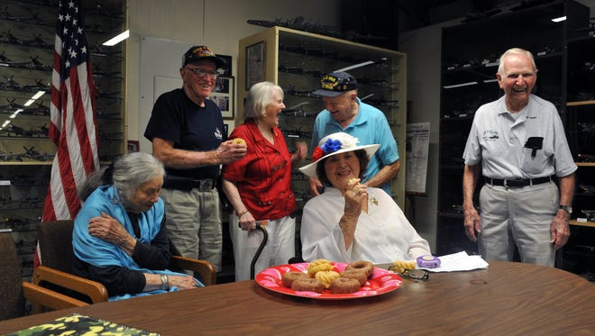 "WWII Veterans and USO Ladies share a laugh Tuesday at Millville Army Air Field Museum, Sep. 13, 2016 in Millville.  From left are Pat Witt, of Millville, Charles ""Sandy"" Wentzell, of Salem, Frances Hyson, of Lower Alloways Creek, Dottie Cullen, of Millville, Ralph Williams, of Brigantine, and Tim Kiniry, of Minotola."