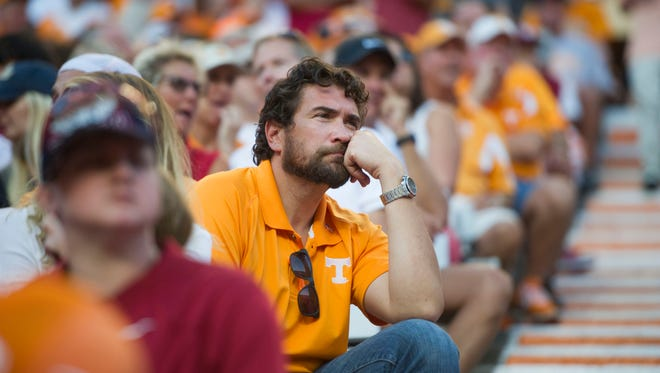 A fan looks out onto the field during the UT vs. Alabama game in Neyland Stadium on Saturday, Oct. 15, 2016.  Alabama defeated UT 49-10.