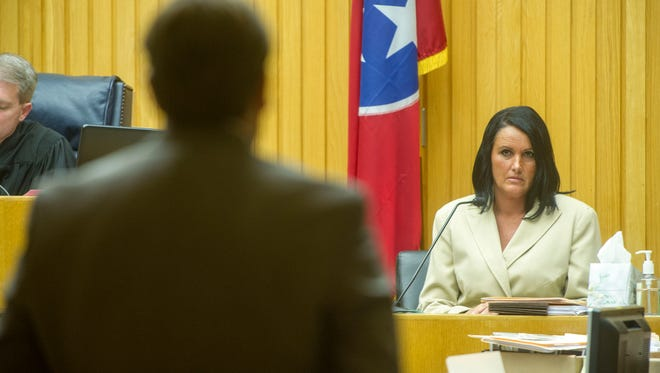 Bill Bright, Knox County assistant attorney general, left questions Rhonda Jan Thomas, a former Knox County Trustee employee, about her criminal record.  Thomas has been charged with theft and the case is still pending.Testimony continued in the trial of Delbert Morgan, accused of being a ghost employee under former Knox County Trustee Mike Lowe, Friday, Aug., 22, 2014 in Knox County Criminal Court. Morgan, former employee Ray Mubarak and former Knox County Trustee Mike Lowe are accused of conducting a scheme in which Morgan and Mubarak were paid money by the office for work they never conducted.Mubarak and Lowe will be tried later. (J. MILES CARY/NEWS SENTINEL)