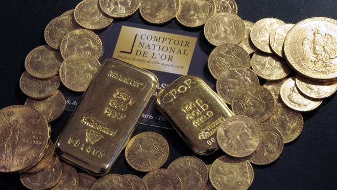 Some of the gold found in a house that a man took over in Normandy, France,