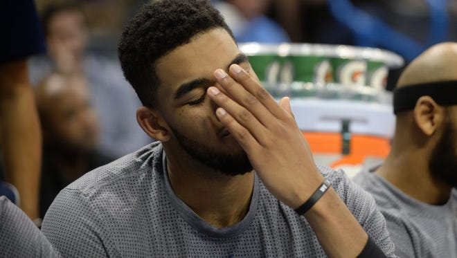 Minnesota Timberwolves center Karl-Anthony Towns (32) is putting more pressure on himself as the team struggles.