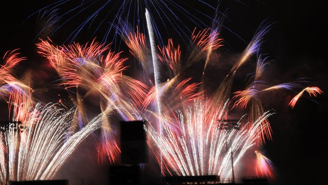FILE: Fireworks streak the sky the 2016 July 4th celebrations at the Salinas Sports Complex.