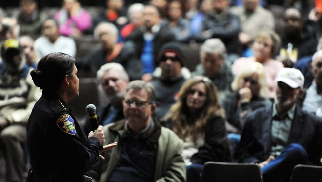 Police Chief Adele FresŽé speaks to members of the public at a town hall meeting on Wednesday at Sherwood Hall in Salinas.
