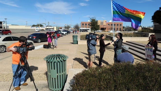 Six participants and seven members of the media showed up for the Abilene edition of the Austin Inauguration Pride, Gay, Lesbian, and Transgender March on Friday, Jan. 20, 2017, at City Hall.