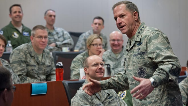 Air Force Chief of Staff Gen. David L. Goldfein addresses the Wing Commanders and Spouses courses, as well as the Group Commander courses at the Eaker Center for Professional Development on Feb. 2. Along with his mentorship of Eaker Center students, Goldfein met with Air University and Air Force Cyber College leaders.