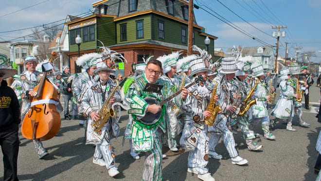 The St. Patrick's Day parade in Gloucester City boasts more than a dozen bands, including string bands.