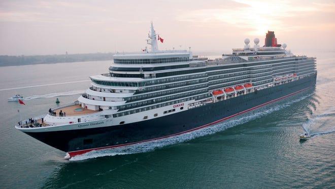 Cunard's Queen Elizabeth arriving in Southampton, England.