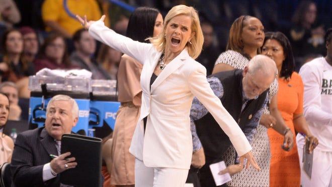 Mar 24, 2017; Oklahoma City, OK, USA; Baylor Bears head coach Kim Mulkey reacts after a play against the Louisville Cardinals during the third quarter in the semifinals of the Oklahoma City Regional of the women's 2017 NCAA Tournament at Chesapeake Energy Arena. Mandatory Credit: Mark D. Smith-USA TODAY Sports