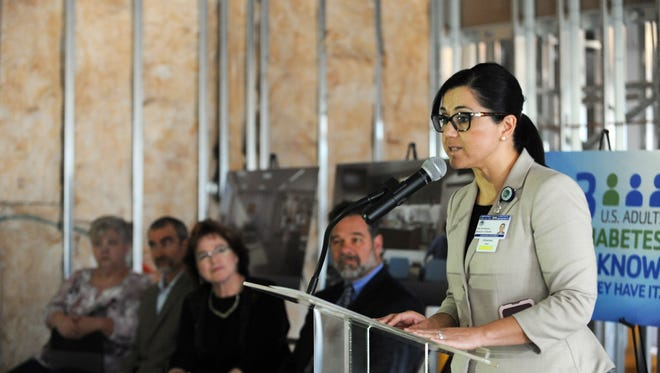Elsa Mendoza Jimenez, director of health services for Monterey County, speaks on Diabetes Alert Day inside the Salinas Valley Medical Clinic Expanded Diabetes & Endocrine Center under construction at PrimeCare in Salinas.