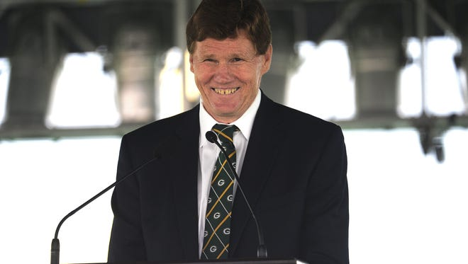 Green Bay Packers President and CEO Mark Murphy addresses shareholders gathered in Lambeau Field in July for the annual shareholders meeting.