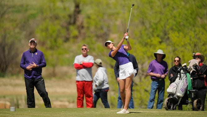 Wylie's Maddi Olson tees off on the 14th hole of the District 5-4A golf tournament on Wednesday, March 29, 2017 at Diamondback Golf Club.