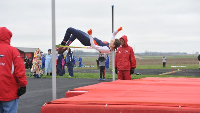 Galion's Marissa Gwinner clears the high jump with ease. She would go on to win with a jump of 5-05.00.