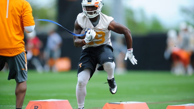 A Tennessee player shows agility during the final day of Vols spring practice at Anderson Training Facility in Knoxville, Tennessee on Thursday, April 20, 2017.