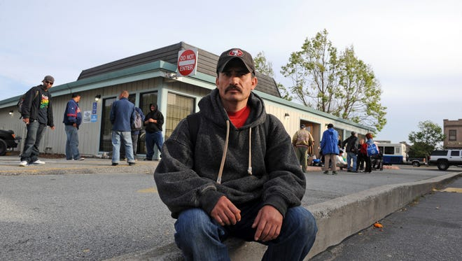 Gerardo Rodriguez, 40, has been looking for work, and has no other place to go than the warming shelter at night. He is from Zacatecas, Mexico, and wants work in the fields.