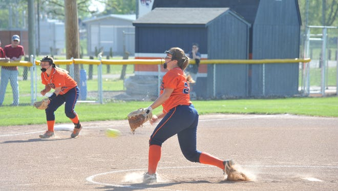 Galion's Dani Schieber pitched four innings in her team's 10-7 loss to Jonathan Alder.