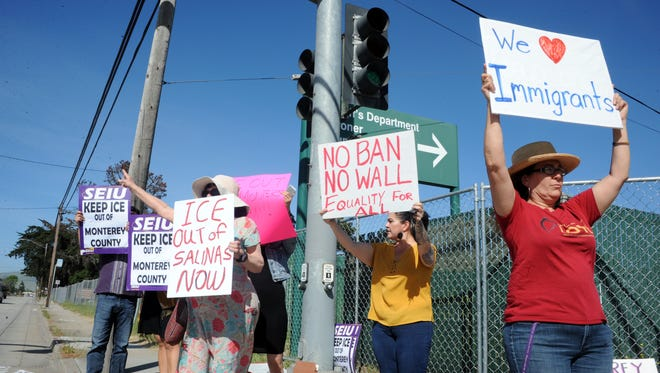At the entrance to Monterey County Jail in Salinas, people protest the presence of ICE in the jail and administration policies regarding illegal immigration and deportation.