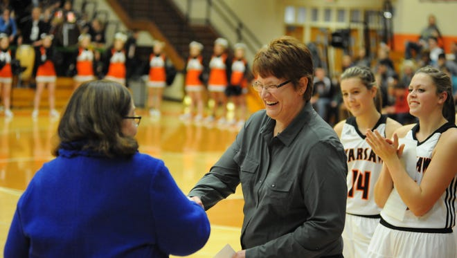 Michelle Harter (right) was named the new girls' basketball coach at Central after spending the last nine years at Warsaw Community.
