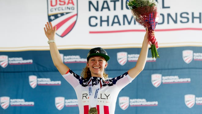 Emma White celebrates after winning the time trial during the USA Cycling Pro Road National Championships on Saturday.