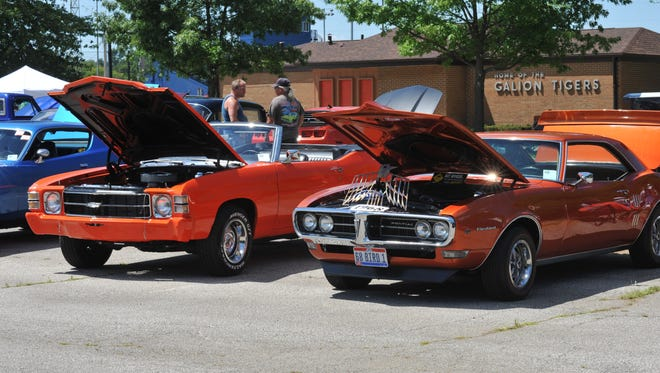 Entrants from all over the area brought their classic cars to show off in Heise Park at the Pickle Run festival.