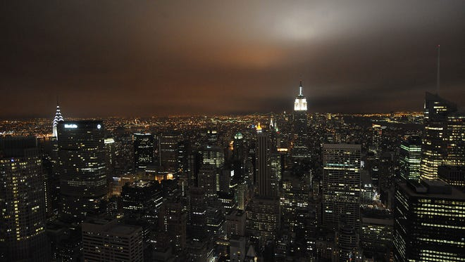 The Empire State Building as seen from the Top of the Rock at Rockefeller Center.