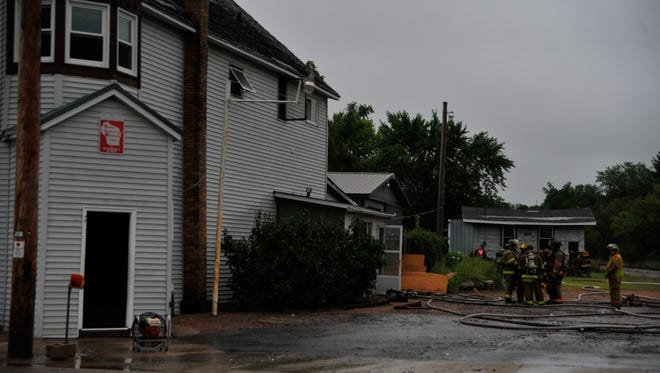 Rudolph firefighters, assisted by five other fire departments, respond to the scene of a fire at Skmo's Place, 1608 Main St., Rudolph.